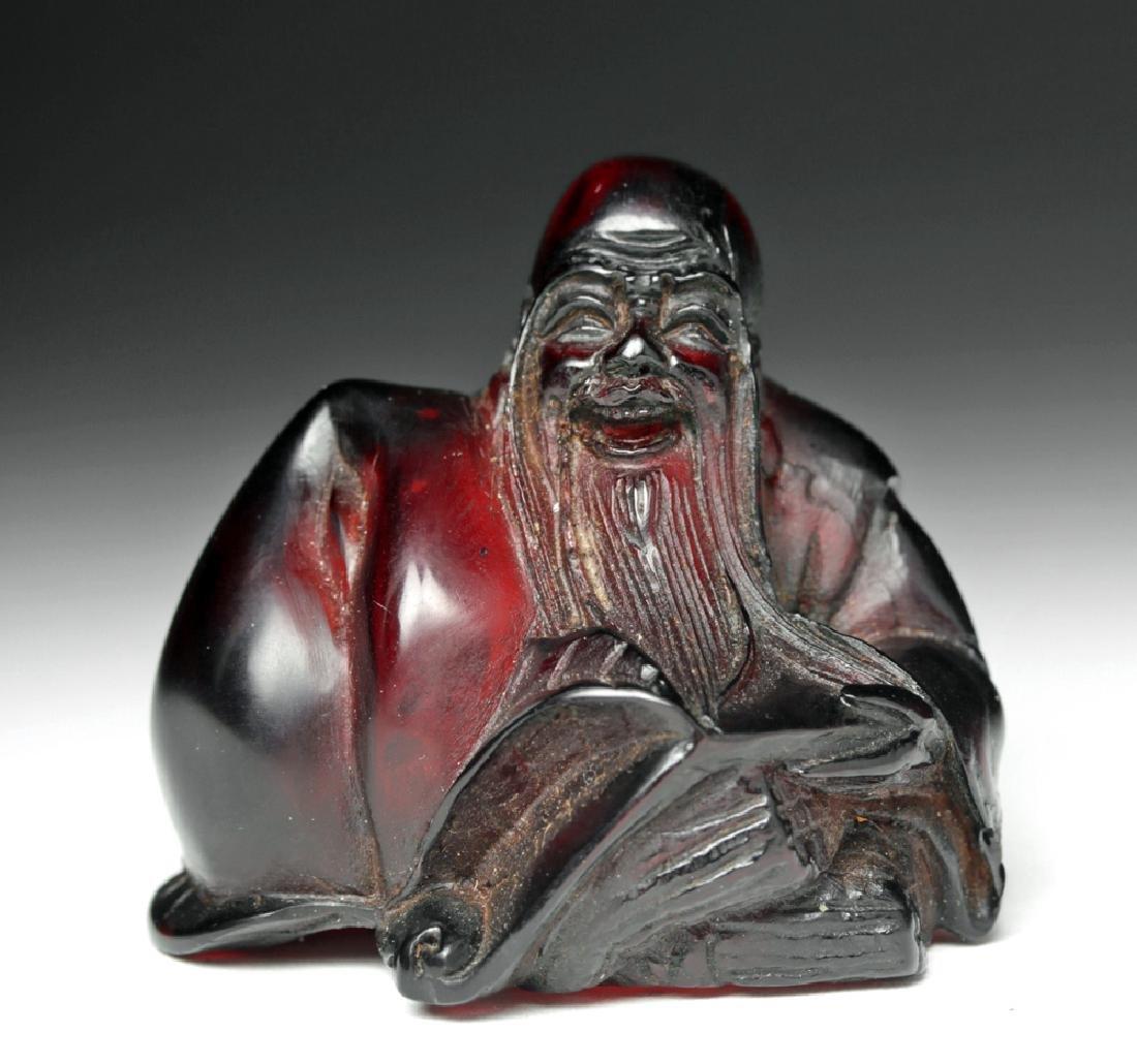 Rare / Early 20th C. Chinese Red Amber Netsuke