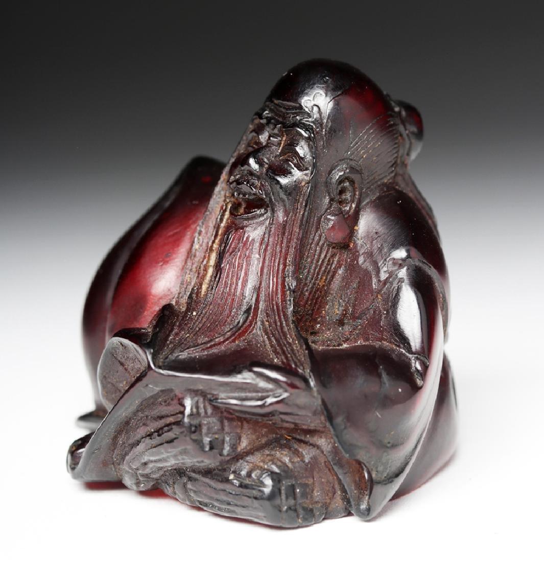 Rare / Early 20th C. Chinese Red Amber Netsuke - 2