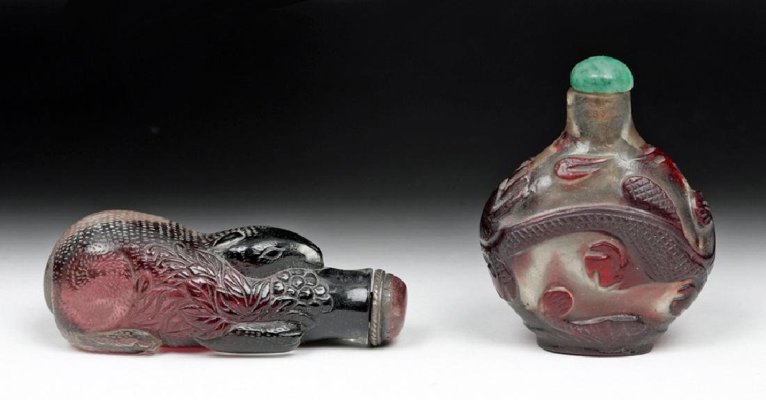 20th C Pair, Vintage Chinese Peking Glass Snuff Bottles