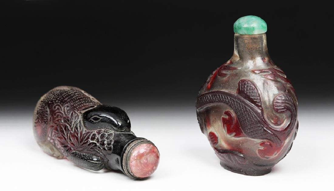 20th C Pair, Vintage Chinese Peking Glass Snuff Bottles - 2