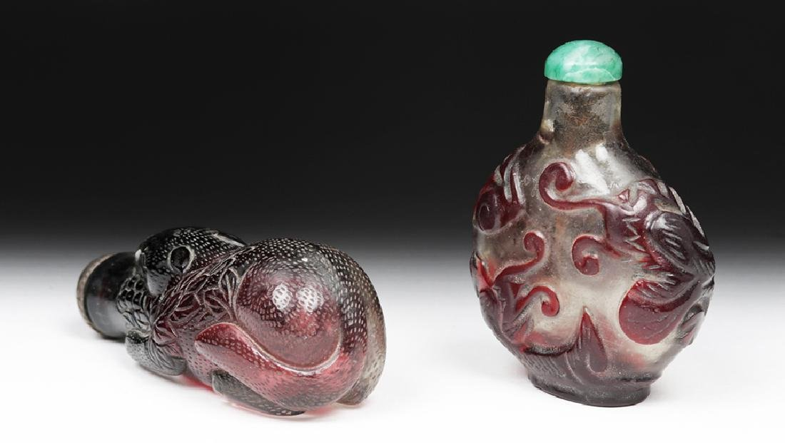 20th C Pair, Vintage Chinese Peking Glass Snuff Bottles - 4