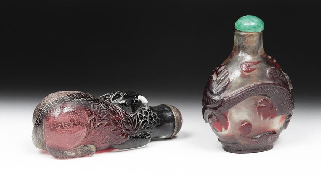 20th C Pair, Vintage Chinese Peking Glass Snuff Bottles - 5