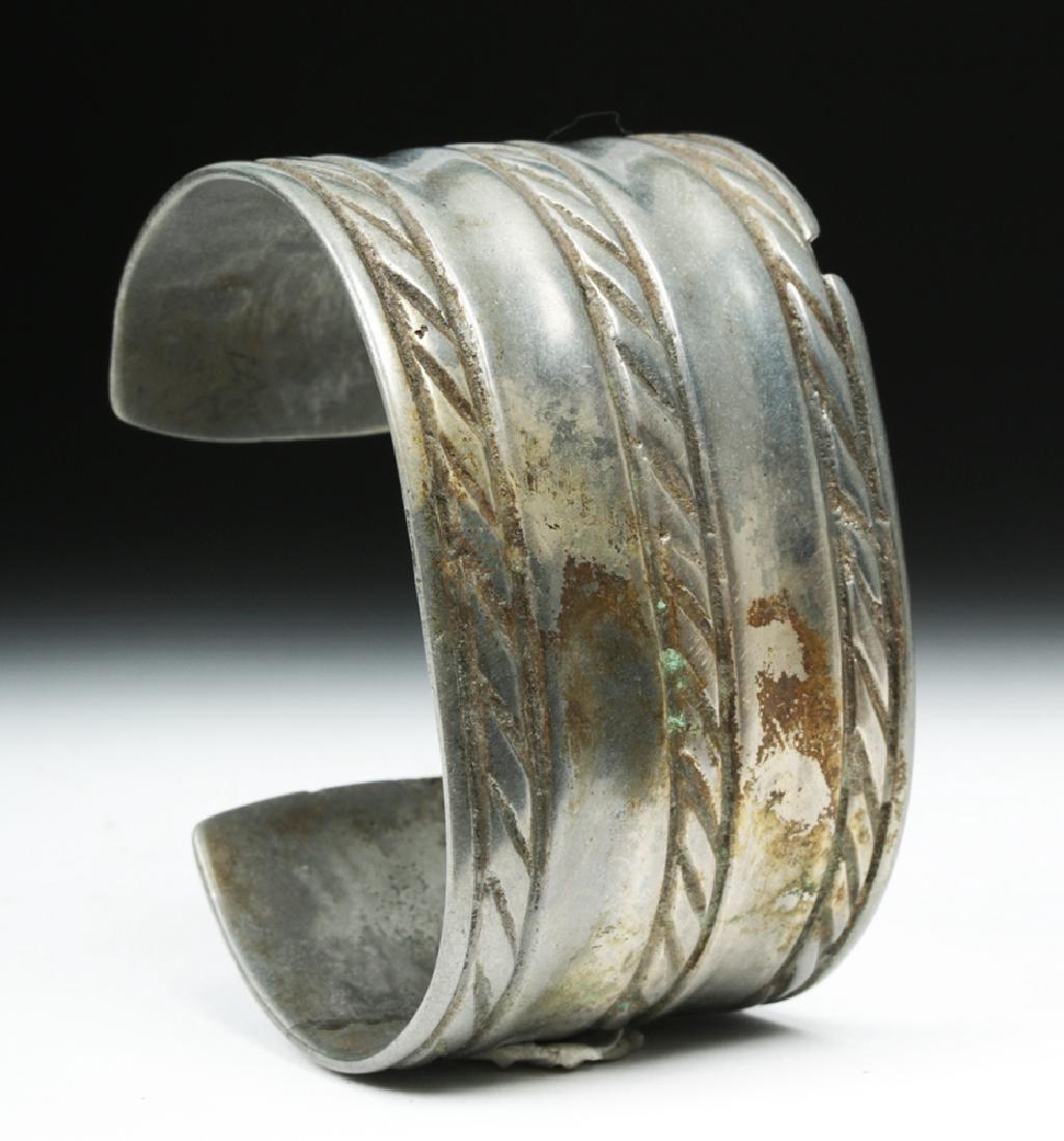 Early Viking White Bronze Cuff Bracelet w/ Animals - 2