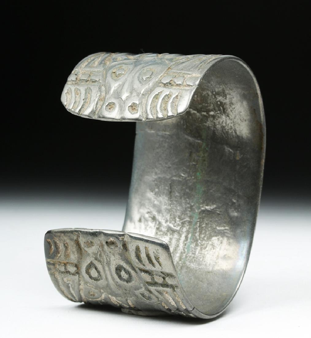 Early Viking White Bronze Cuff Bracelet w/ Animals - 3