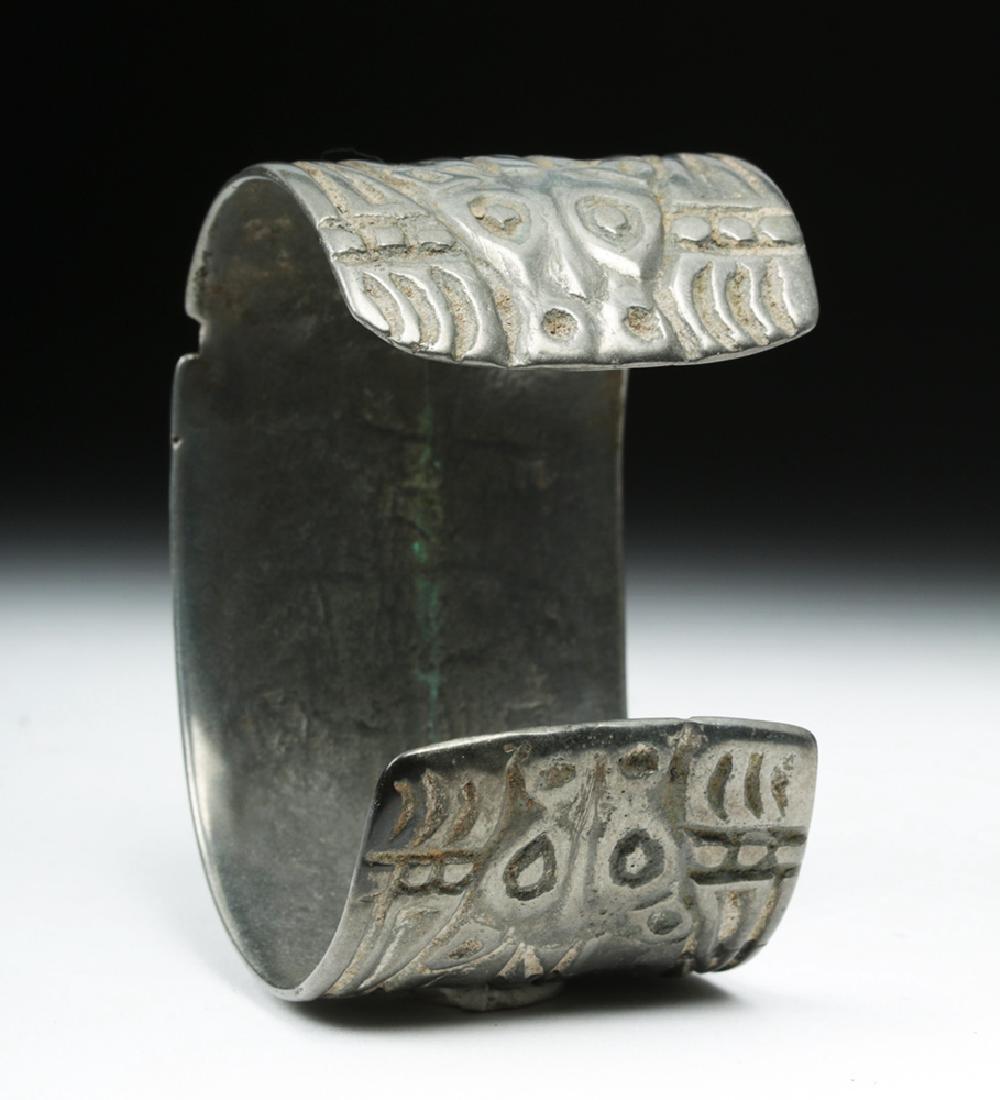 Early Viking White Bronze Cuff Bracelet w/ Animals - 4