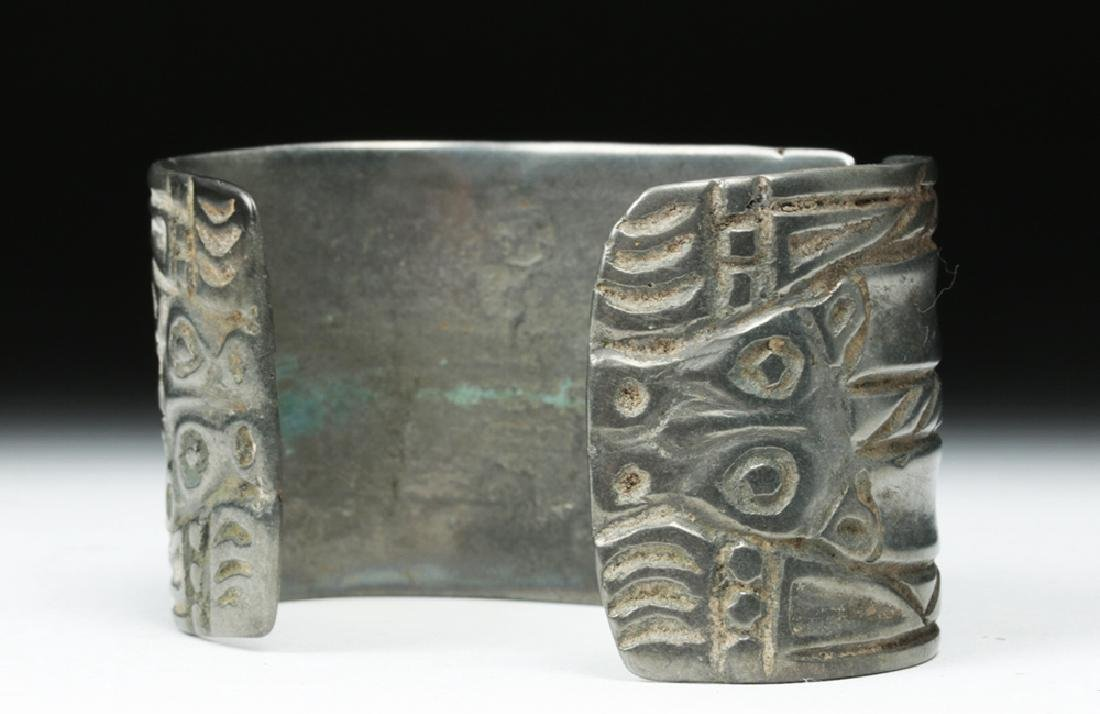Early Viking White Bronze Cuff Bracelet w/ Animals - 6