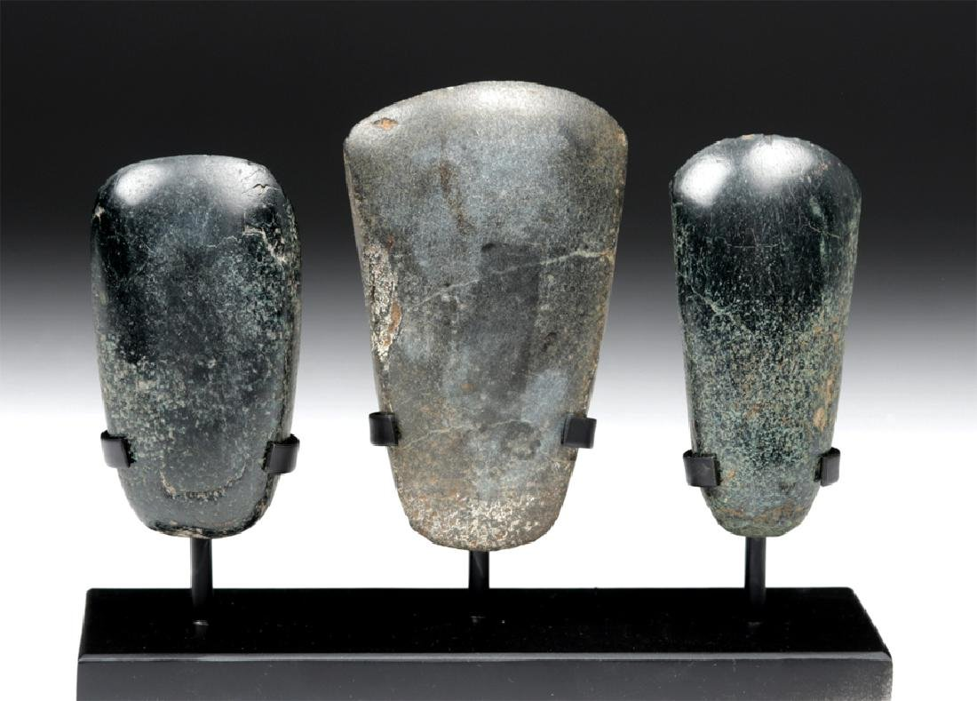Trio of Jadeite Celts - Two Olmec, One Mayan