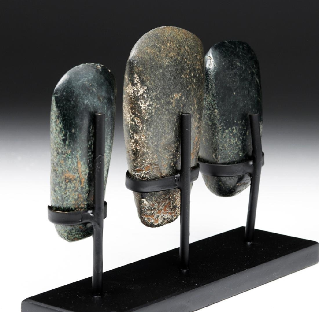 Trio of Jadeite Celts - Two Olmec, One Mayan - 3