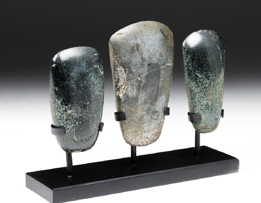 Trio of Jadeite Celts - Two Olmec, One Mayan - 5