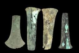 Lot of 4 PreColumbian Mixtec Copper Axe Money