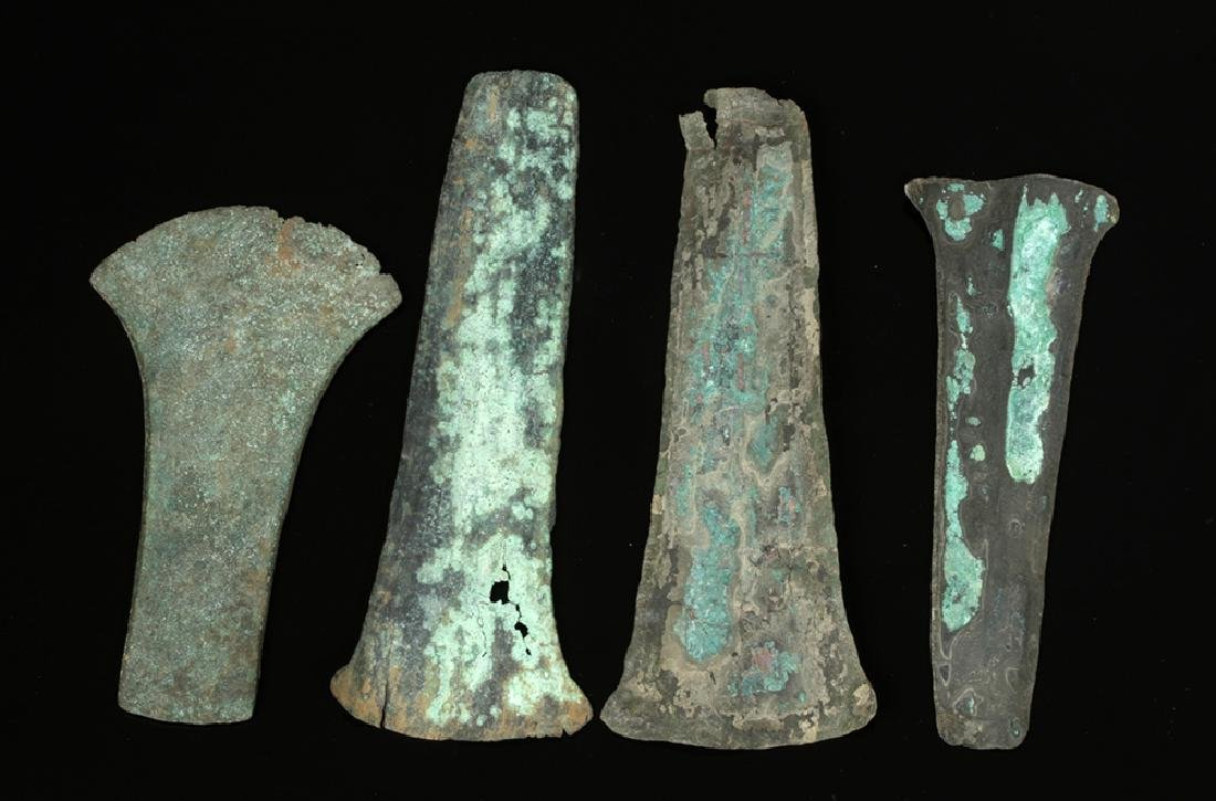 Lot of 4 Pre-Columbian Mixtec Copper Axe Money - 2