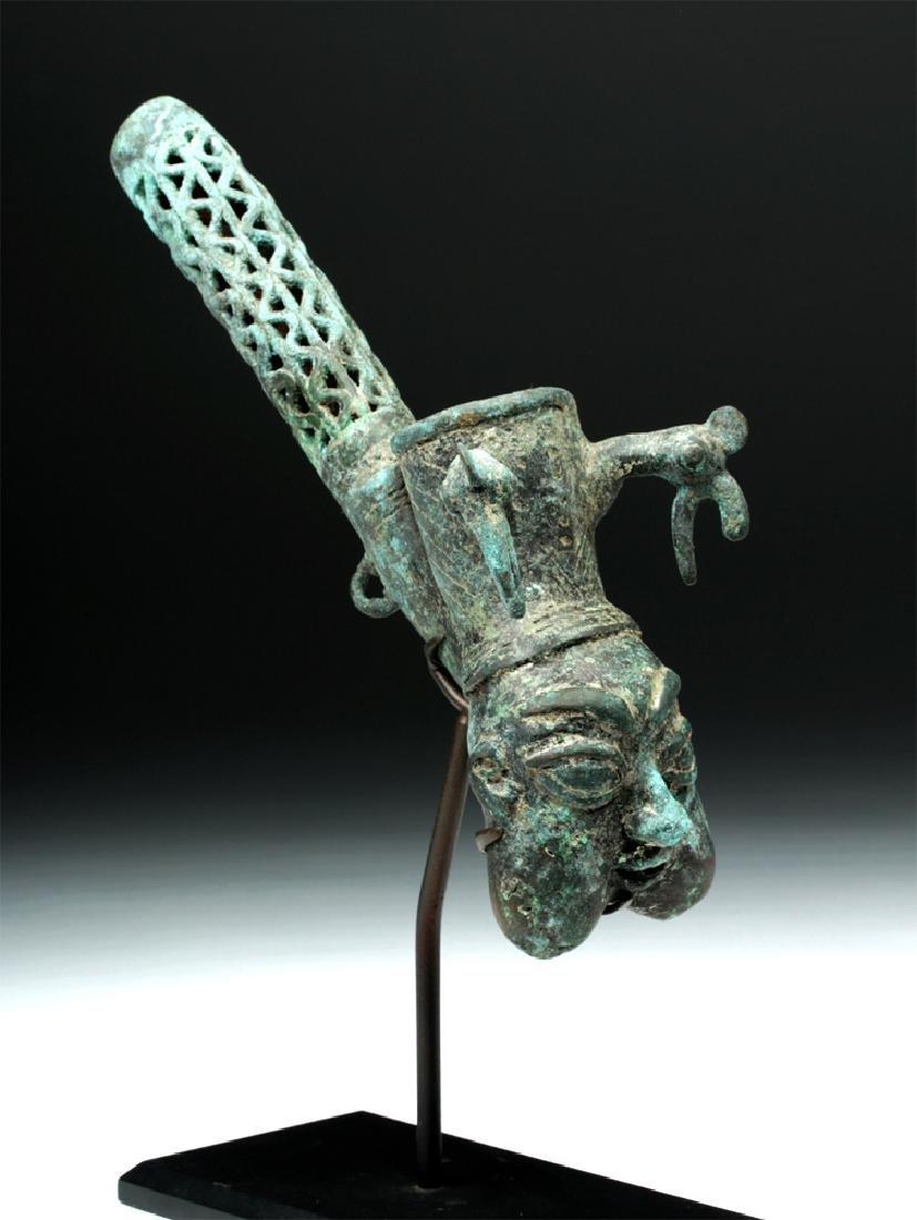 19th C. African Benin Bronze Figural Pipe
