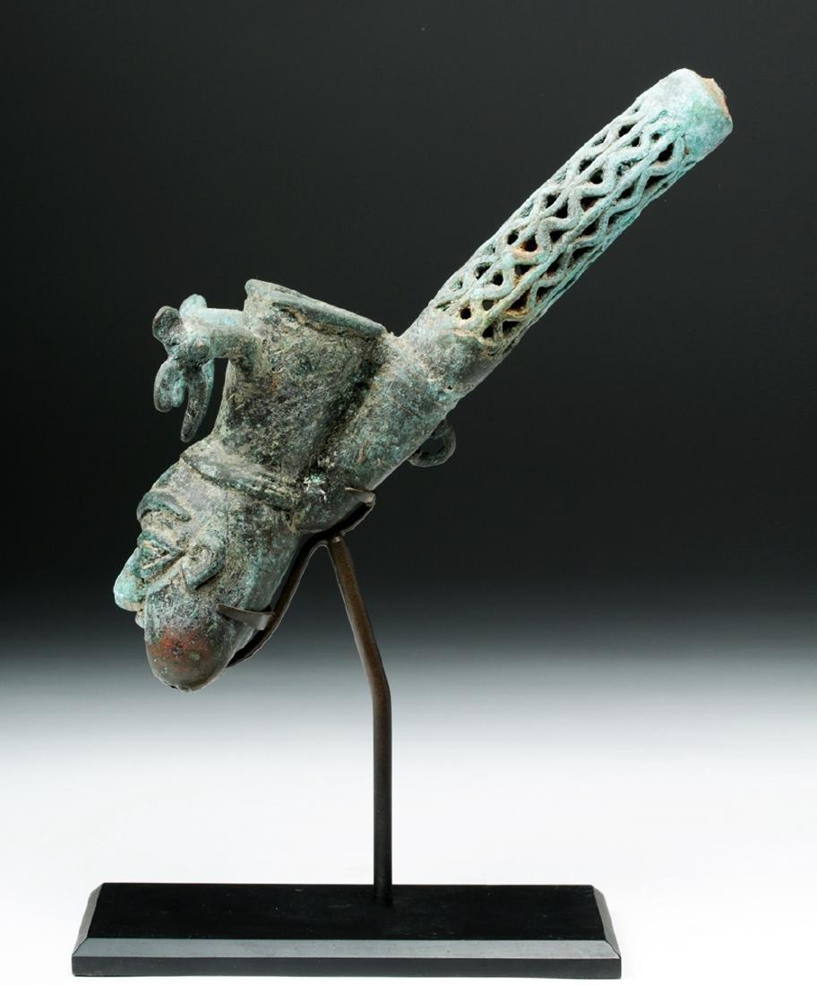 19th C. African Benin Bronze Figural Pipe - 2