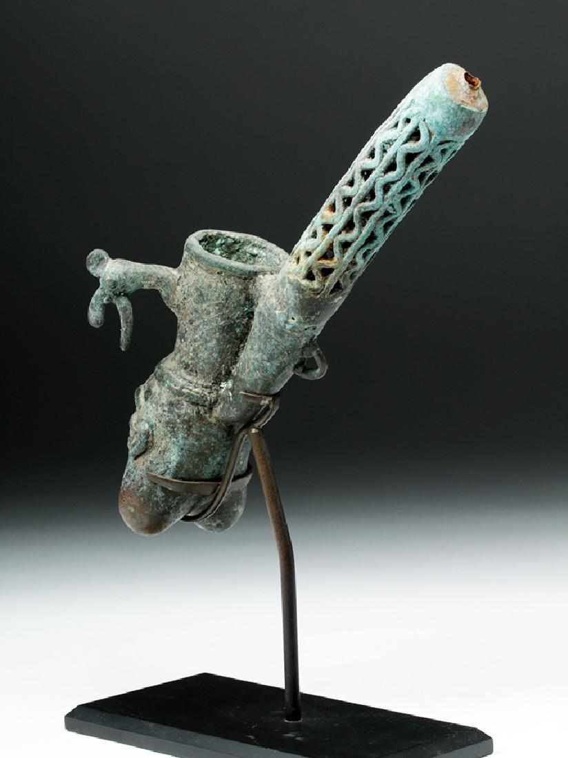 19th C. African Benin Bronze Figural Pipe - 3