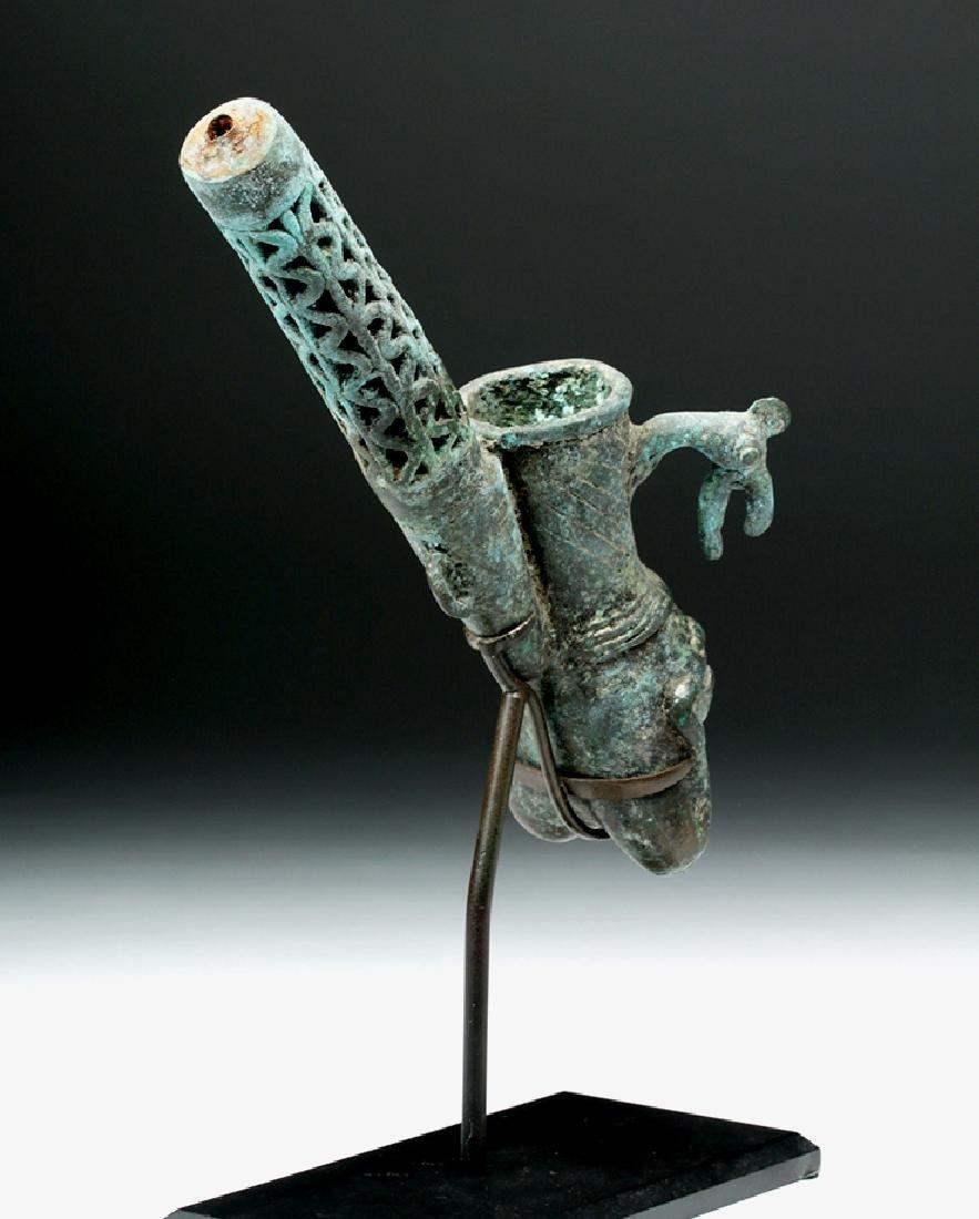 19th C. African Benin Bronze Figural Pipe - 4