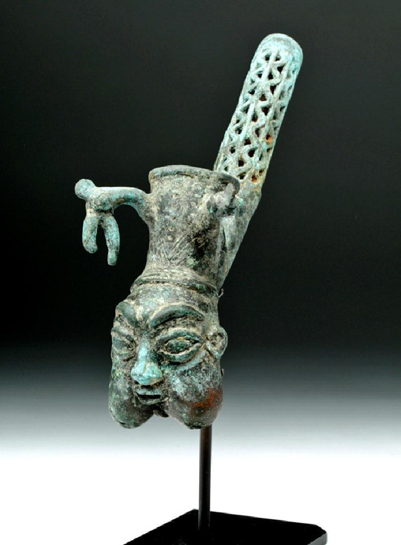 19th C. African Benin Bronze Figural Pipe - 5