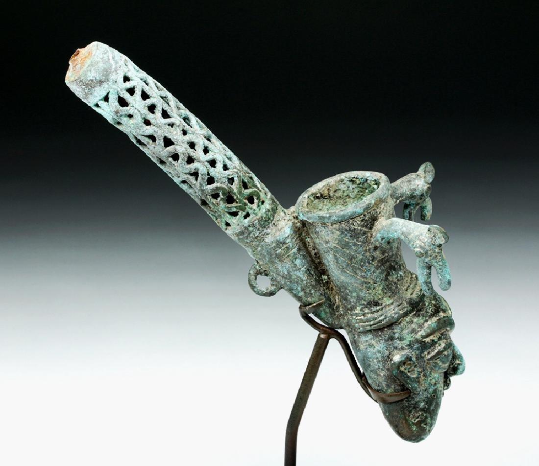 19th C. African Benin Bronze Figural Pipe - 6