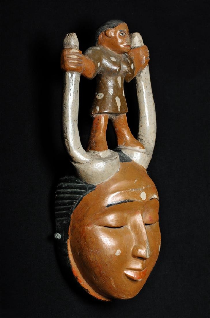 20th C. African Ibibio Polychrome Wood Face Mask