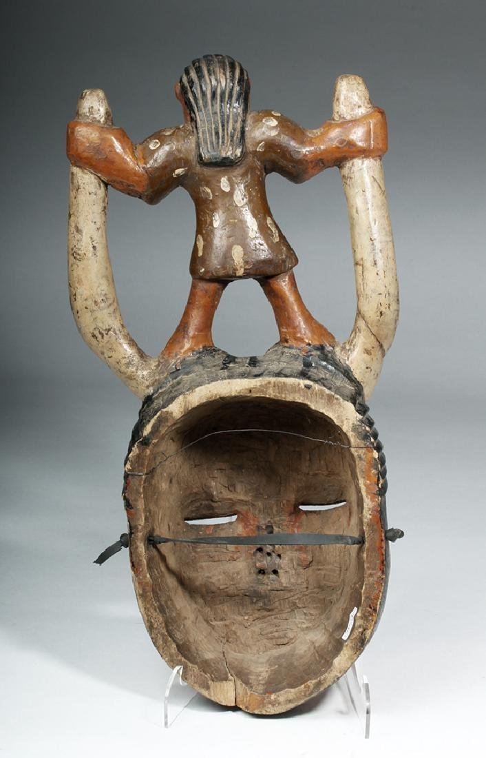 20th C. African Ibibio Polychrome Wood Face Mask - 4