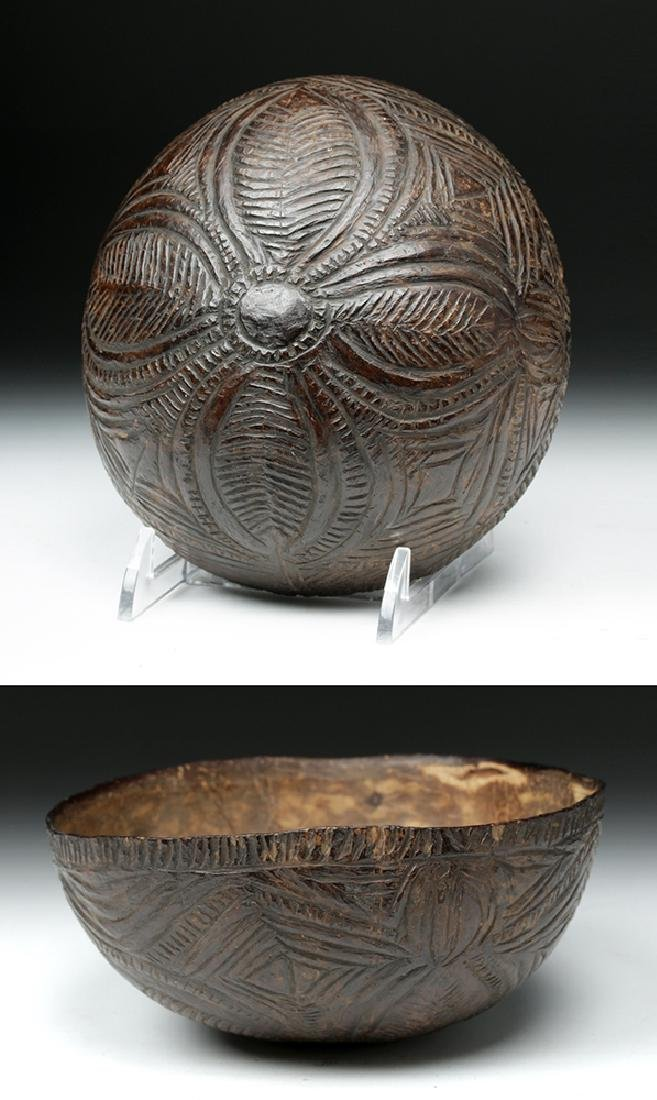 19th C. South Pacific Carved Coconut Bowl
