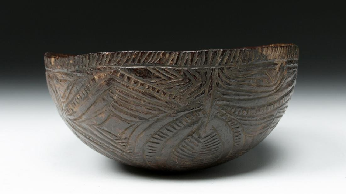 19th C. South Pacific Carved Coconut Bowl - 5
