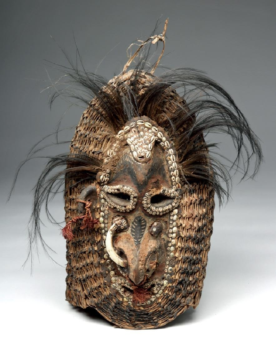 Early 20th C. PNG Sepik River Mud, Shell, & Reed Mask