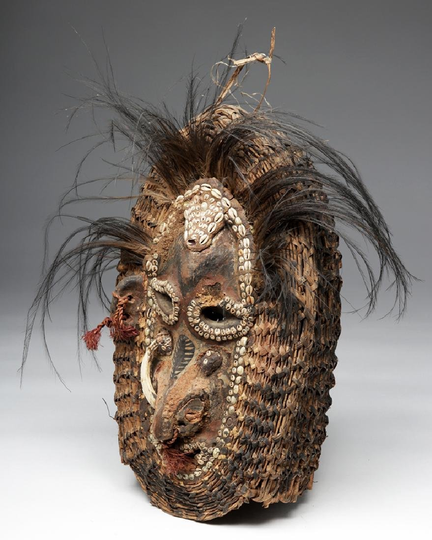 Early 20th C. PNG Sepik River Mud, Shell, & Reed Mask - 2