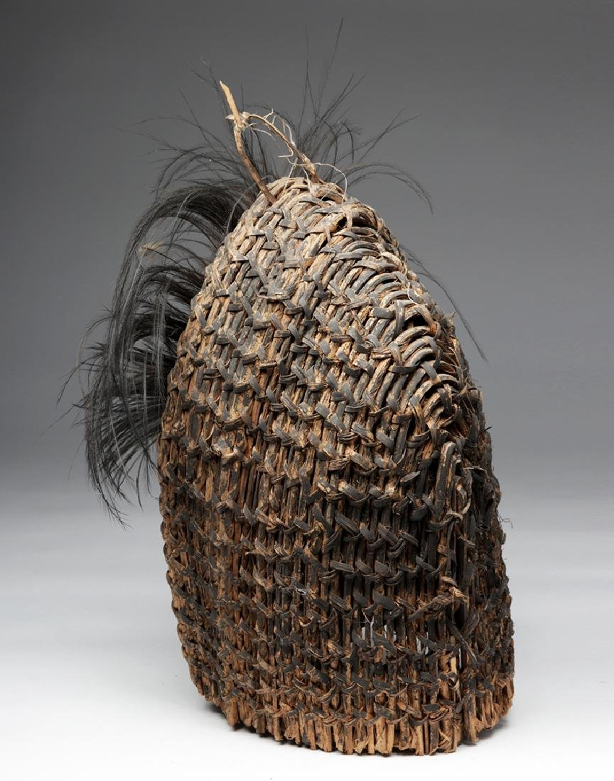 Early 20th C. PNG Sepik River Mud, Shell, & Reed Mask - 3