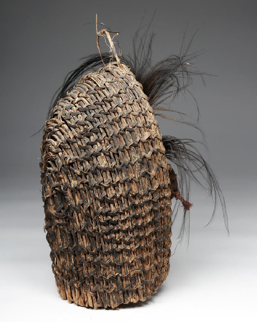 Early 20th C. PNG Sepik River Mud, Shell, & Reed Mask - 4