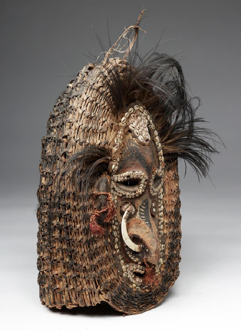 Early 20th C. PNG Sepik River Mud, Shell, & Reed Mask - 5