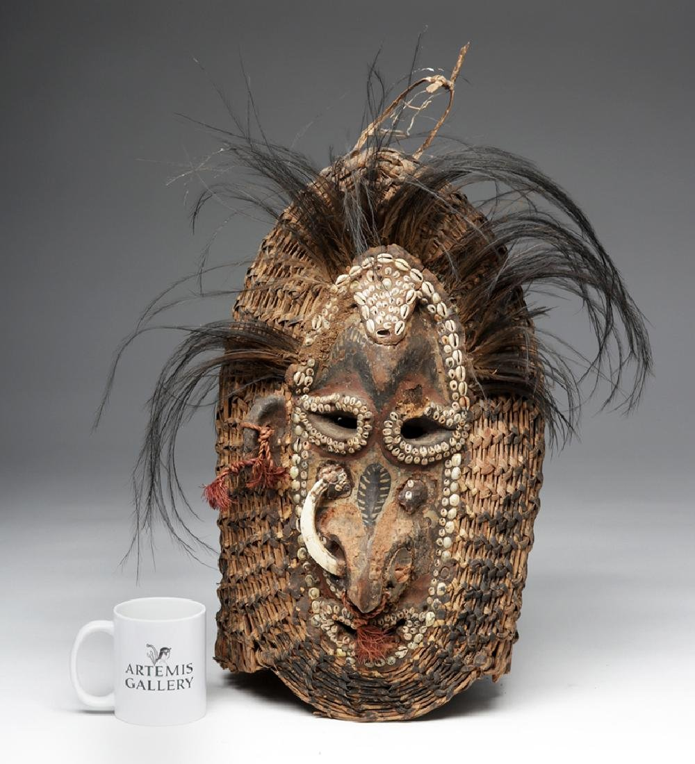 Early 20th C. PNG Sepik River Mud, Shell, & Reed Mask - 6