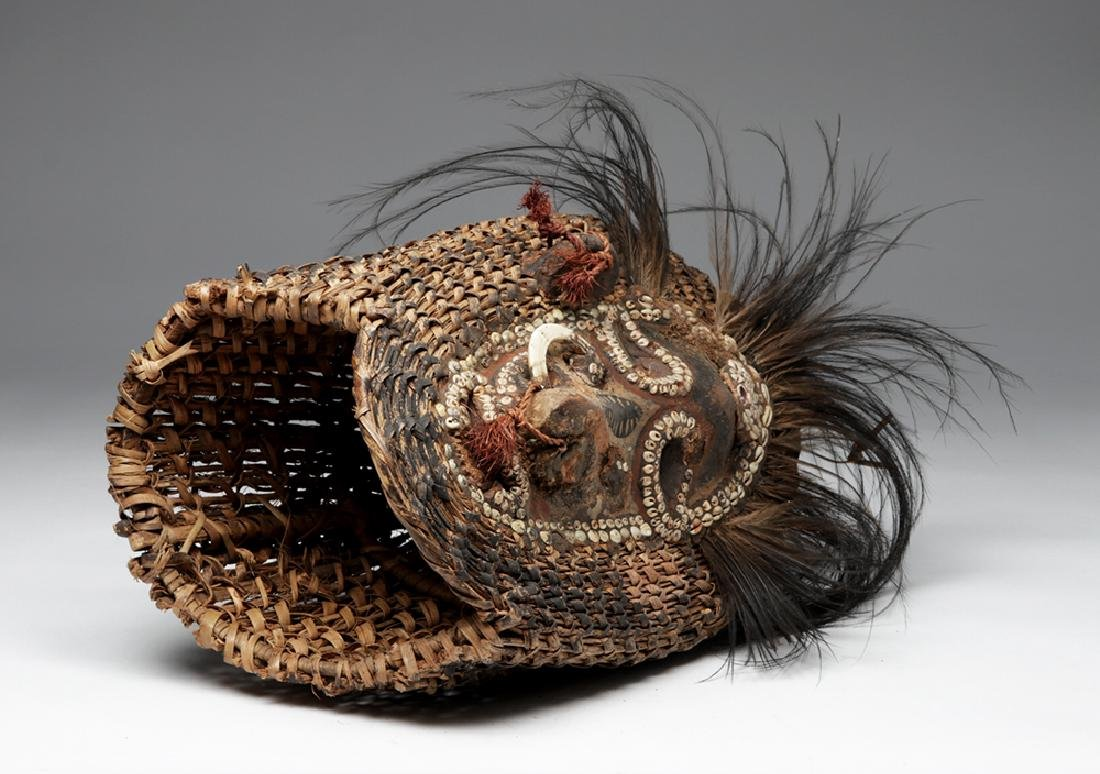 Early 20th C. PNG Sepik River Mud, Shell, & Reed Mask - 7