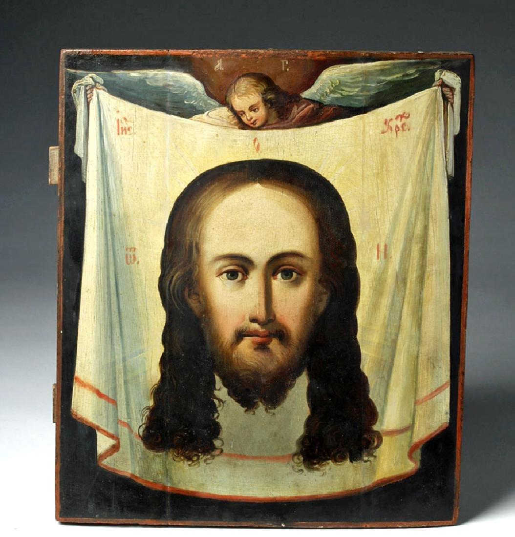 18th C. Greek Orthodox Wood Icon, Mandylion Christ