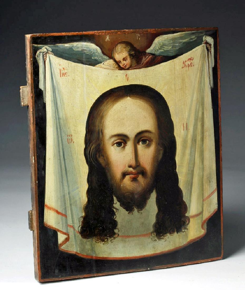 18th C. Greek Orthodox Wood Icon, Mandylion Christ - 6