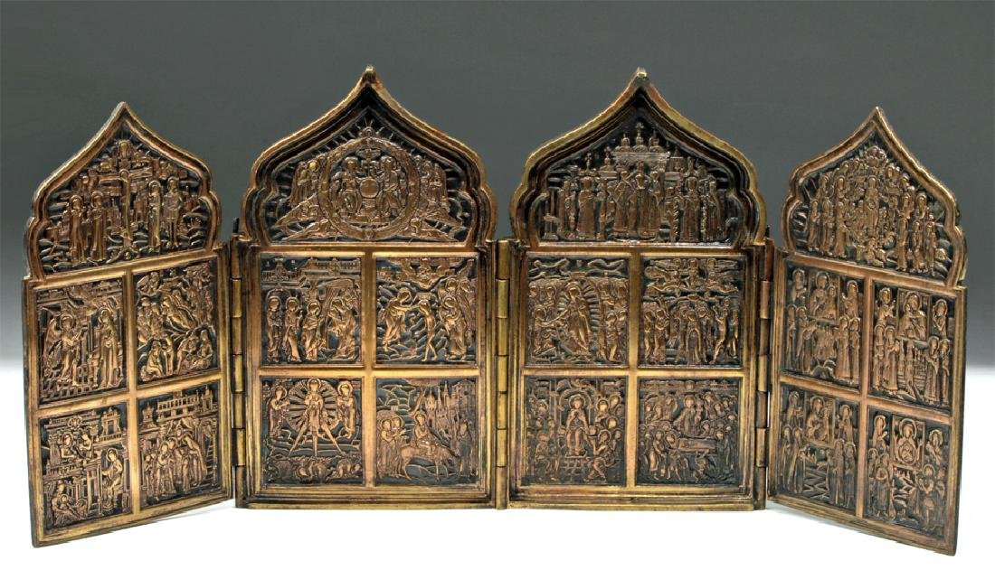 19th C. Russian Brass / Niello 4-Panel Traveling Icon