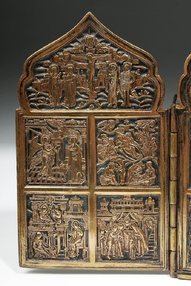 19th C. Russian Brass / Niello 4-Panel Traveling Icon - 5