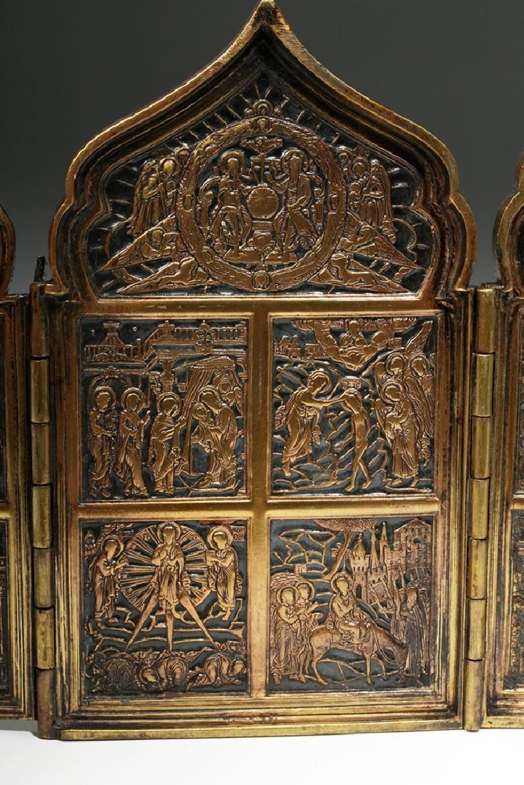 19th C. Russian Brass / Niello 4-Panel Traveling Icon - 6