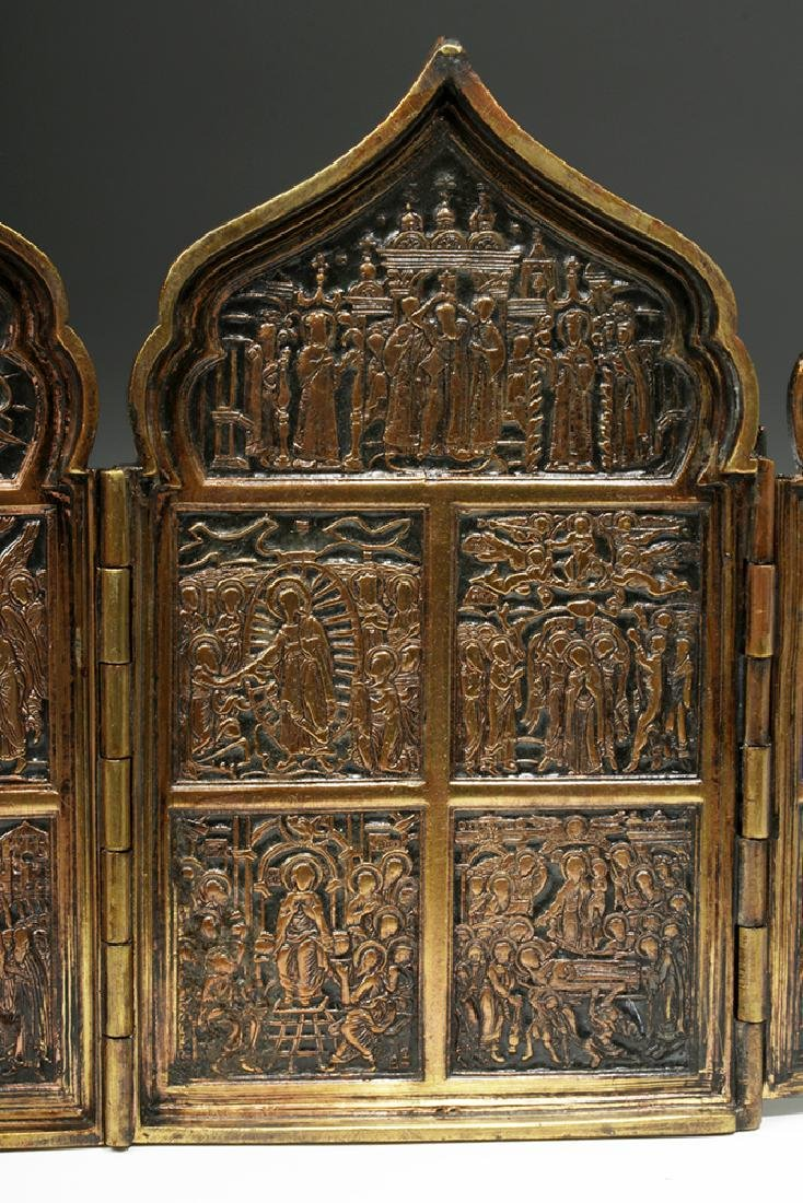 19th C. Russian Brass / Niello 4-Panel Traveling Icon - 7