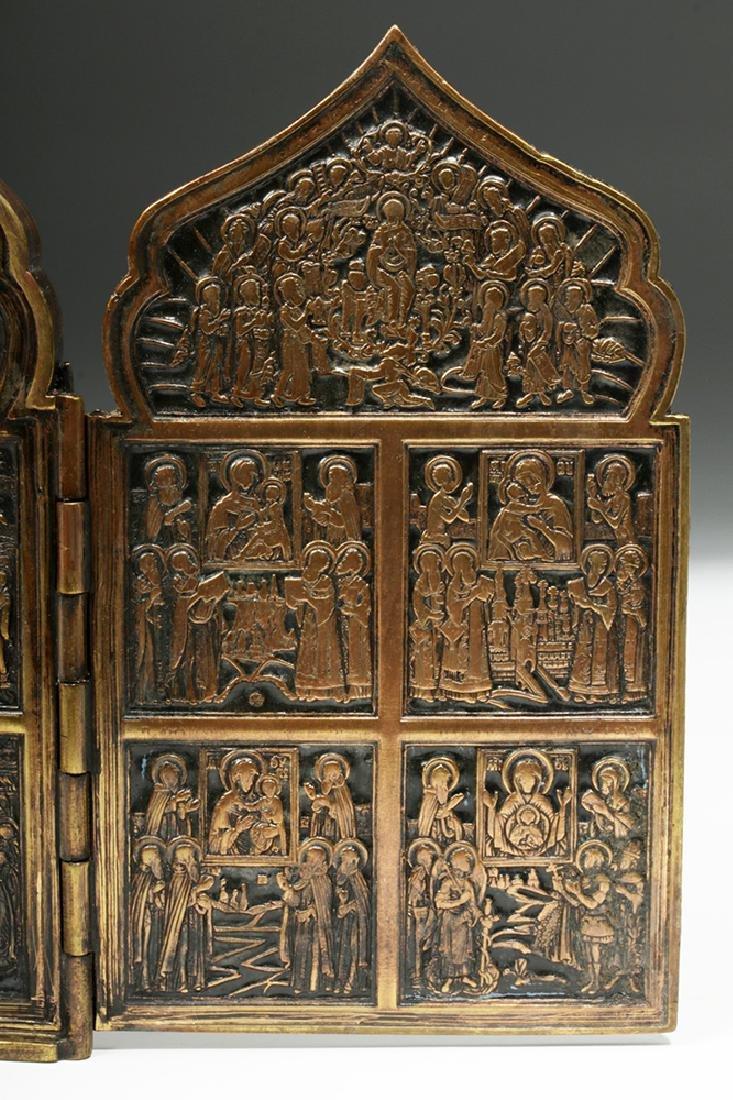19th C. Russian Brass / Niello 4-Panel Traveling Icon - 8