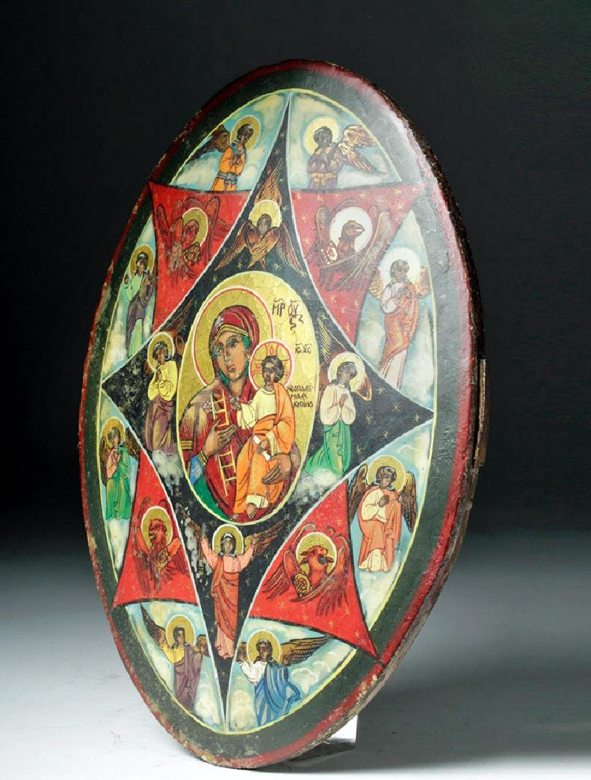 19th C. Oval Russian Icon, Theotokos of Unburnt Bush - 5