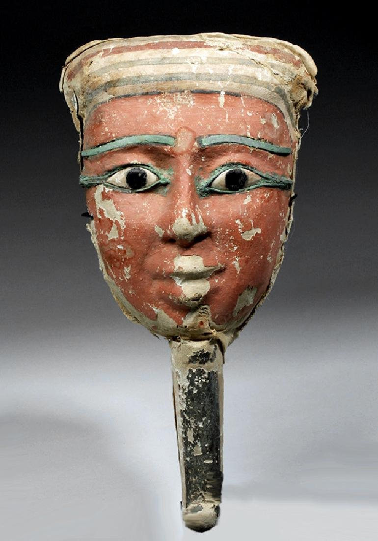 Egyptian Sarcophagus Mask w/ Bronze & Stone Eyes