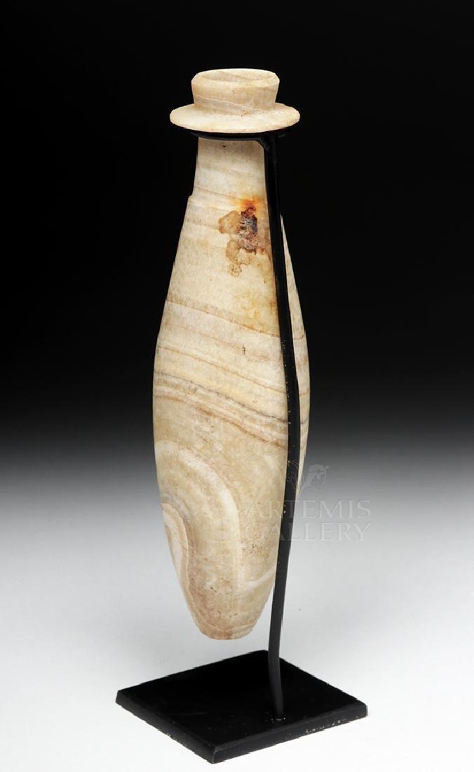 Tall / Elegant Egyptian Banded Stone Alabastron - 4