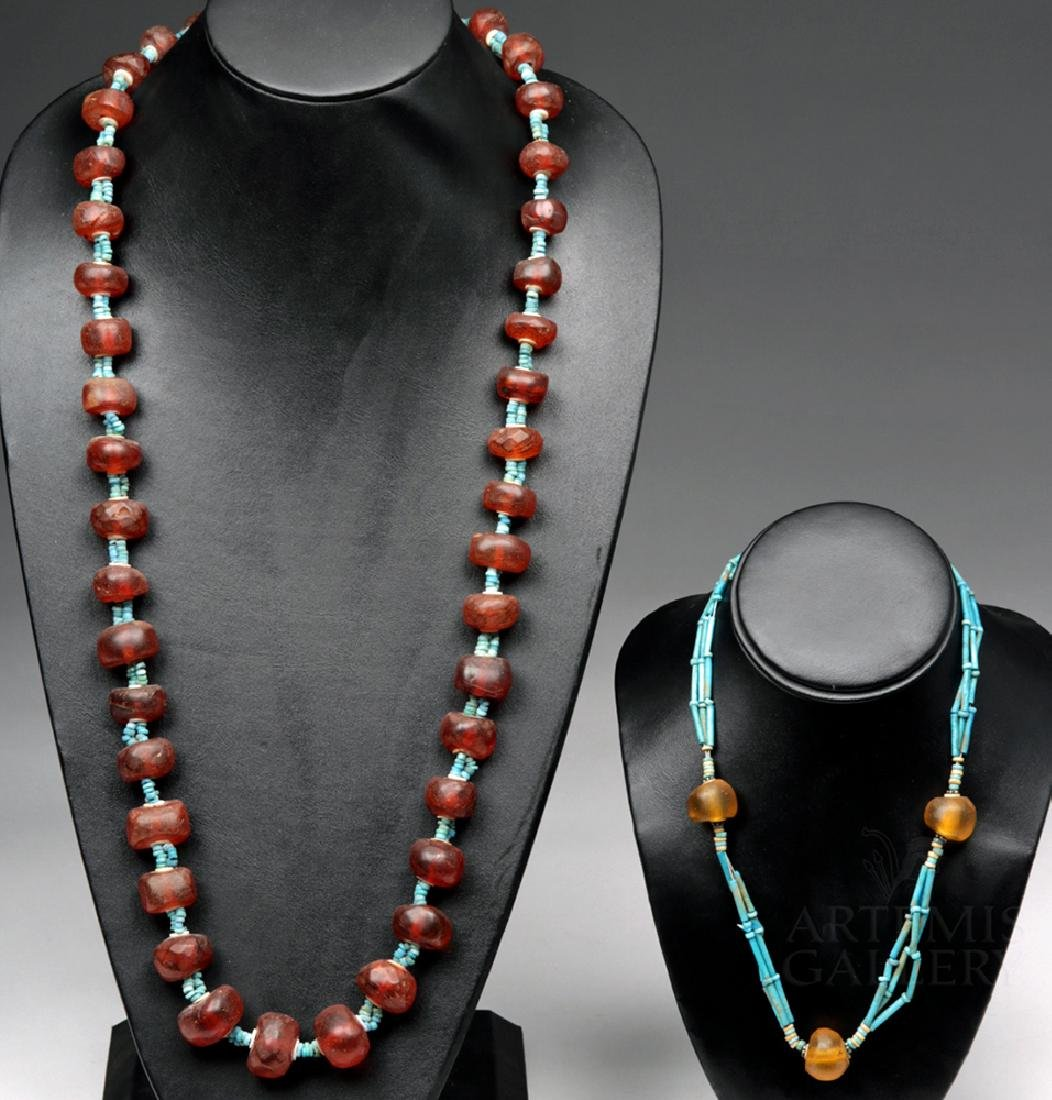 Pair Egyptian Faience / Amber Strand Necklaces (2)