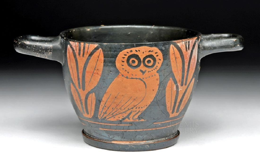 Greek Apulian Red-Figured Owl Skyphos