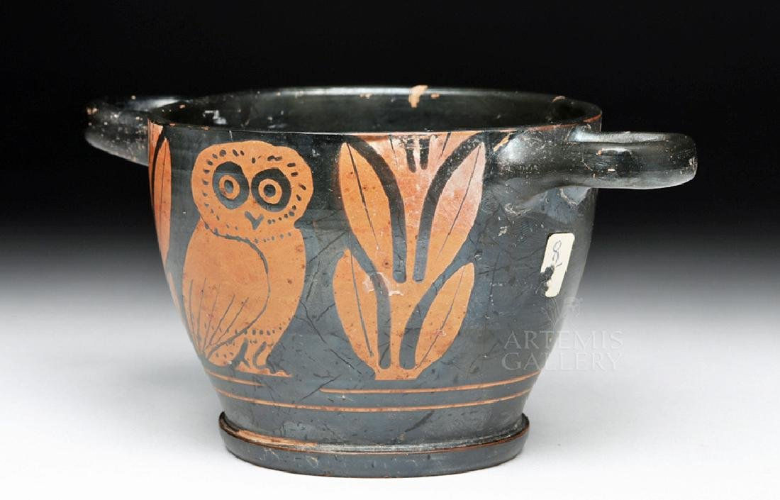 Greek Apulian Red-Figured Owl Skyphos - 2