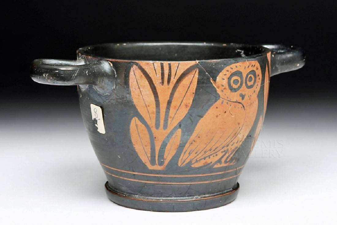 Greek Apulian Red-Figured Owl Skyphos - 3