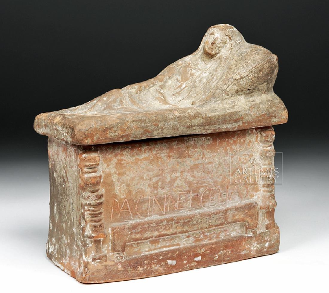 Etruscan Terracotta Cinerarium w/ Latin Inscription