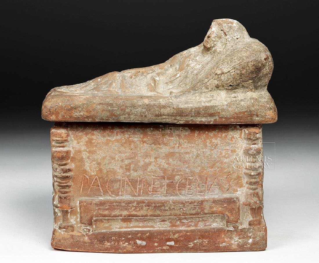 Etruscan Terracotta Cinerarium w/ Latin Inscription - 2