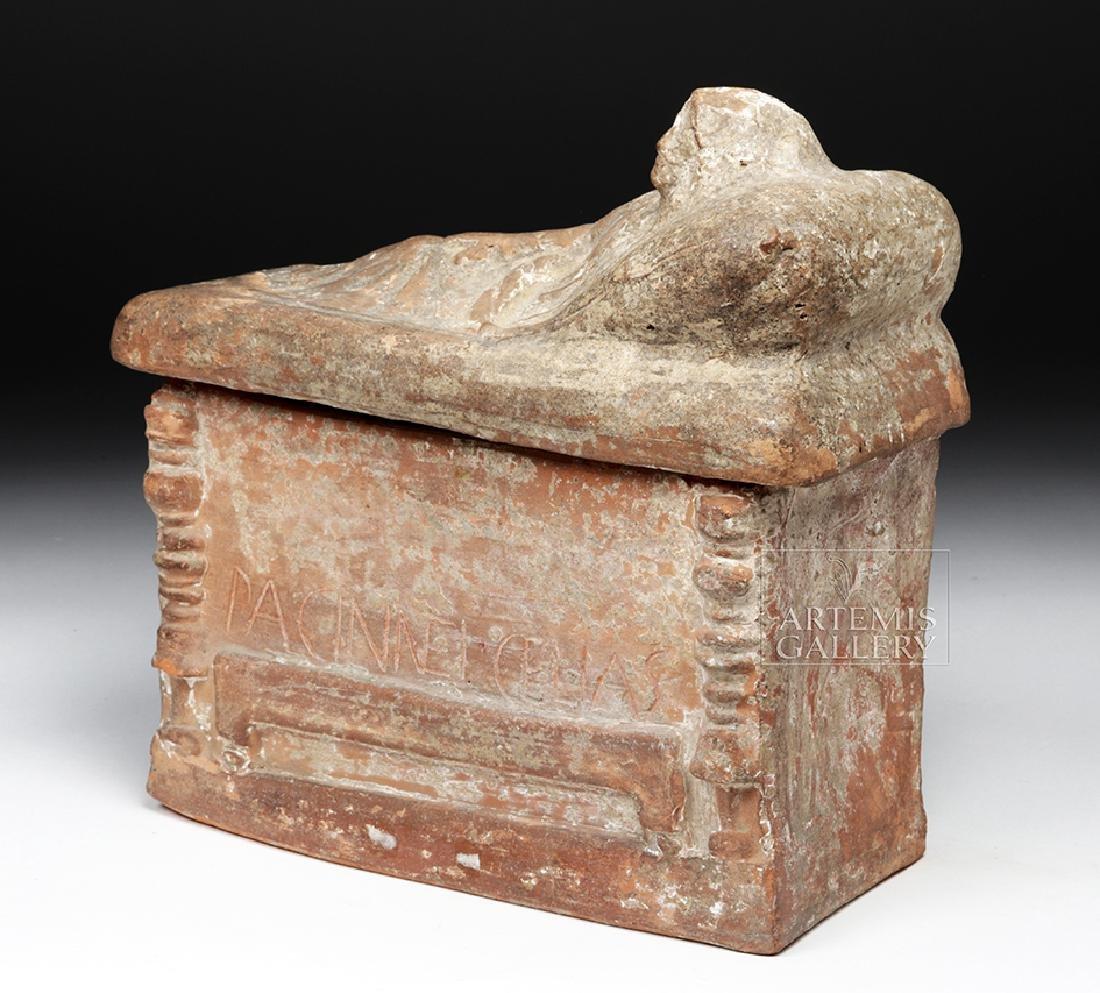 Etruscan Terracotta Cinerarium w/ Latin Inscription - 3