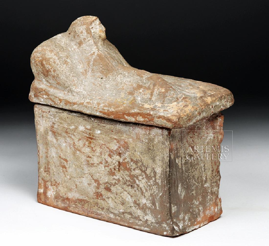 Etruscan Terracotta Cinerarium w/ Latin Inscription - 4